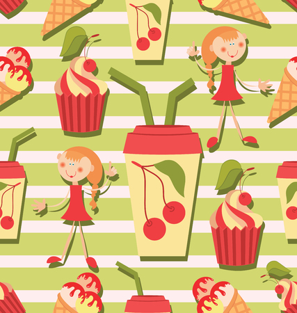 Girls, juice and ice cream and cake. Seamless pattern for baby textiles. Background image for the menu of restaurants and cafes, shops, design of textile and packaging materials. Иллюстрация