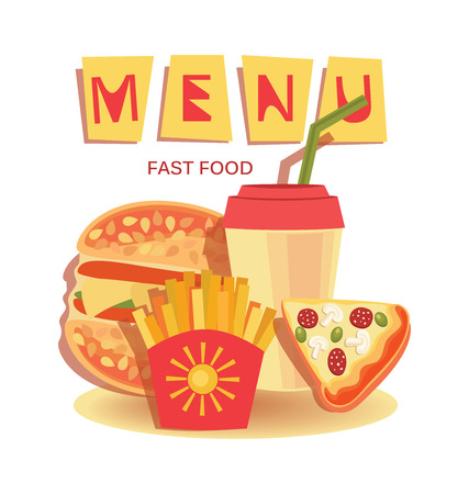 Fast food menu banners. Set. burgers, pizza, sandwiches or chicken nuggets and drinks. Fast food vector menu. Иллюстрация