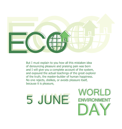 WORLD ENVIRONMENT DAY. 5 JUNE. Poster, card, themed banner with place for text. The concept of an environmentally friendly home, planet