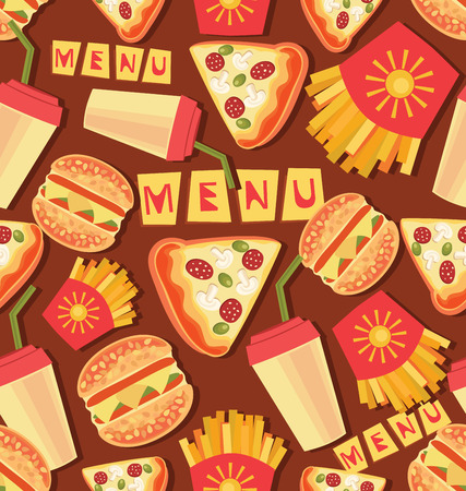 Seamless pattern with fast food. Set. burgers, pizza, sandwiches or chicken nuggets and drinks. Fast food vector menu Иллюстрация