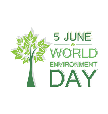 World environment day concept. Design for banner, greeting card, poster with tree.