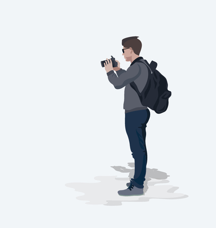 Photographer. Illustration of a character isolated on a light background. Young man. Vector illustration in flat style with space for text.