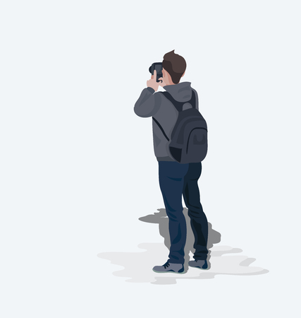 Photographer tourist. Young man. Illustration of a character isolated on a light background. Vector illustration in flat style with space for text.
