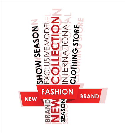 FASHION. Cloud of words framed by a red ribbon. Collage for fashion illustration isolated on white background. Elements of modern poster design.