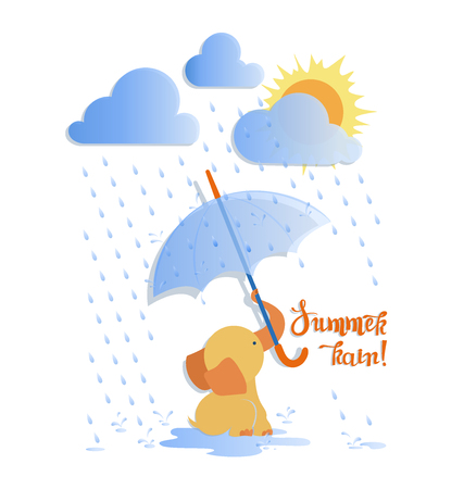 Little baby elephant with umbrella and summer rain. Cute baby elephant under rainy clouds. Children's poster with the inscription.