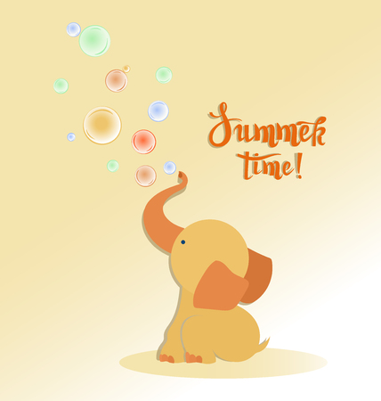 Little baby elephant with soap bubbles. Summer time. Cute baby elephant playing on a fine summer day. Children's poster with the inscription.