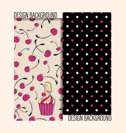 Cake with a cherry. Cherries and peas. Set of seamless patterns. Beige and black background. Design for textiles, packaging materials.