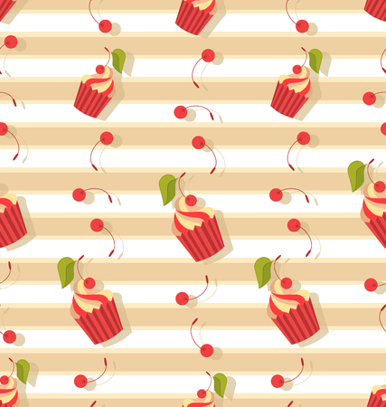 Seamless pattern with cupcakes and cherries. Striped background. Design for textiles, packaging materials.