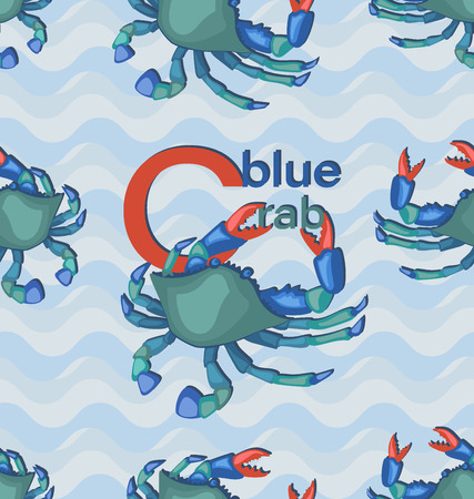 Blue crab with letters. Seamless pattern with wavy background. Seafood. Design for textiles, menus, cookbooks, packaging materials.