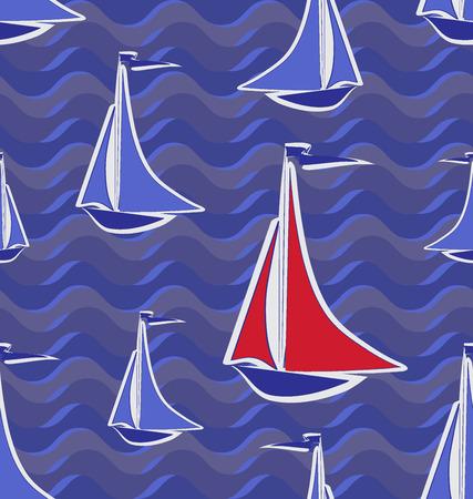 Pattern Sailing boat. Scarlet Sails. Sailing yachts for textile design, marine background. Иллюстрация