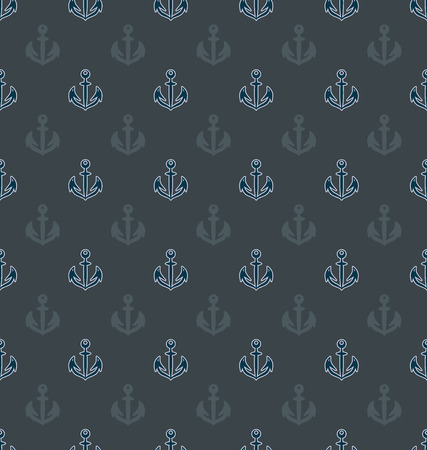 Anchor on a gray background. Maritime attribute. Seamless pattern. Background image with anchor patch. Design for textiles, packaging, marine equipment for packaging materials. Иллюстрация