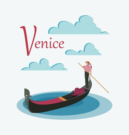 Góndola y gondolero de Venecia. Invitación para viajar a Italia. Profesión masculina italiana. Elementos de diseño para cartel turístico, textil. Imagen sobre fondo blanco.