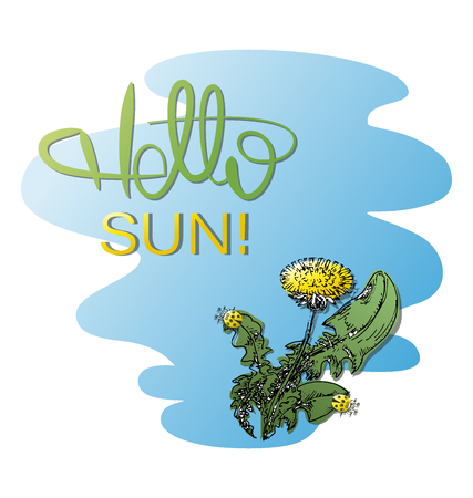 Hello, the sun. Dandelion and ladybugs. Image for poster, postcard, for printing on fabrics or paper.