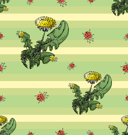 Dandelions and ladybugs are red and yellow. Seamless pattern on a striped background. Design for textiles, packaging materials.