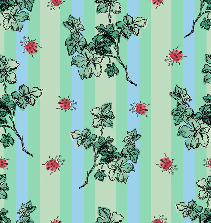 Branch of greenery and ladybugs. Seamless pattern on a striped background. Design for textiles, packaging materials.
