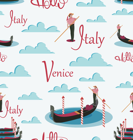 Hello, Italy, Venice. Gondolas and gondolier. Seamless pattern. Invitation to travel to Italy. Italian male profession. Tourist poster, textiles.  イラスト・ベクター素材