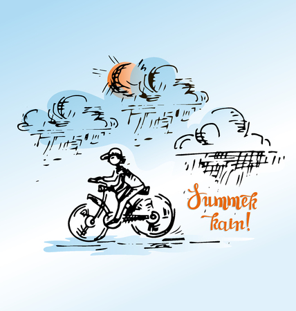 Cyclist and summer rain. Image for a themed poster, print on fabric or paper. Иллюстрация