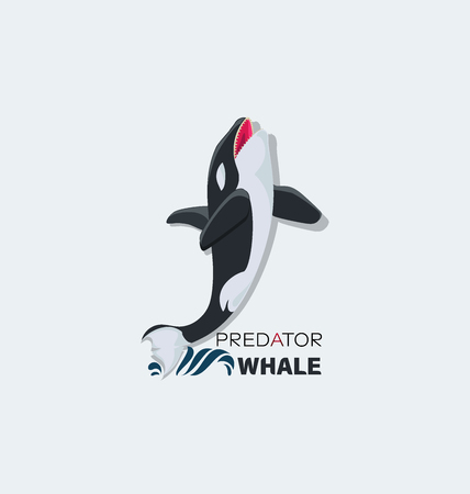 Wild attacking whale. Predator with scary jaws. Logo, emblem. Design for textiles, thematic site, diving club and spearfishing.