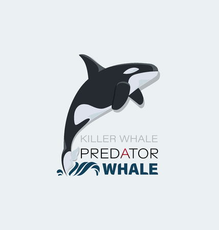 Killer whale. Marine predator. Emblem Design for textiles, thematic site, diving club and spearfishing. Illustration