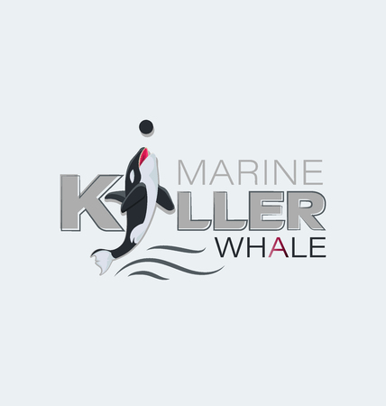 Marine predator. Killer whale. Emblem Design for textiles, thematic site, diving club and spearfishing. Иллюстрация