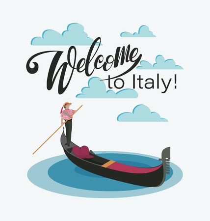 Welcome to Italy, to Venice. Venetian gondola and gondolier. Invitation to travel to Italy. Italian male profession. Design elements for tourist poster, textiles. Image on a white background. Иллюстрация