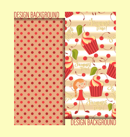 Girl with cake and cherries. Polka dot background. Summer time. Design of childrens textiles and packaging materials.