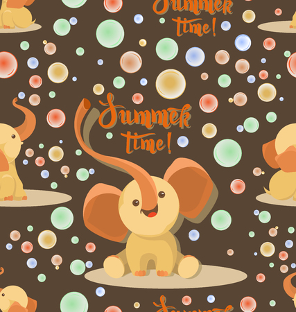 Cute elephants with soap bubbles. Summer time. Seamless pattern. Brown background. Little elephants play on a beautiful summer day. Design childrens textiles and packaging materials.