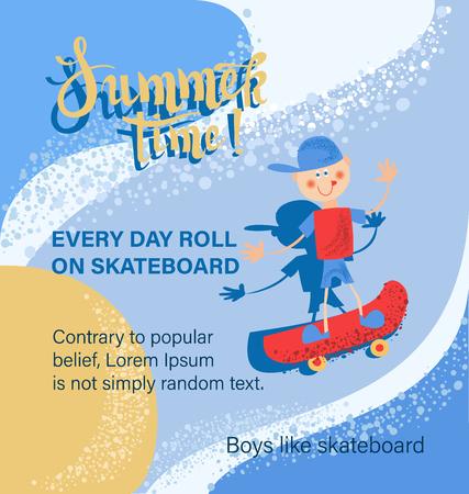 Boy on a skateboard. Summer time. Poster. Dizan for a sales proposal. Иллюстрация