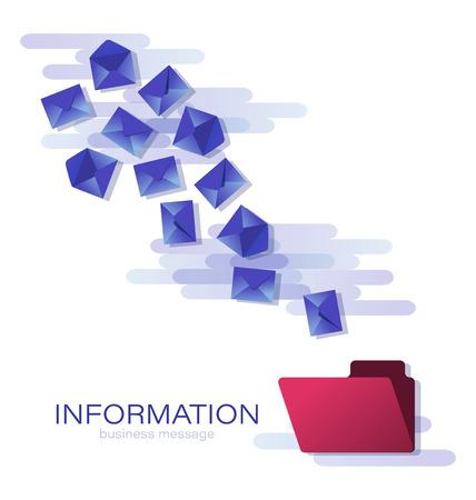 Blue envelopes in flight. Messages Business correspondence. Design a poster, a banner for placing business information. Иллюстрация