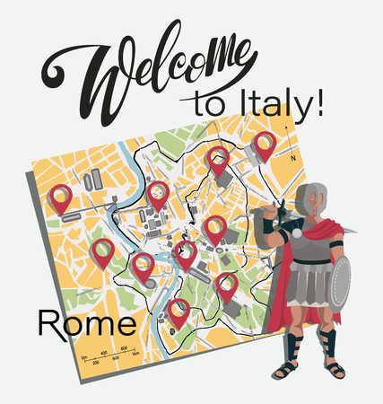 Map of Rome. Gladiator. Set. Invitation to travel to Italy. Roman warrior character in armor with a sword and shield. Planning to move with location markers on the map. Tourist poster.