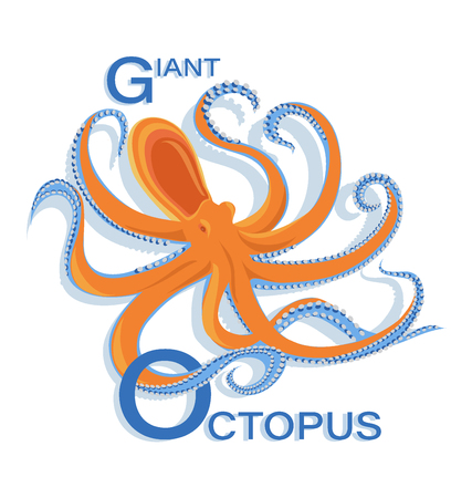 Giant octopus with the inscription. Isolated image on white background. Design for themed posters, banners. Vector illustration