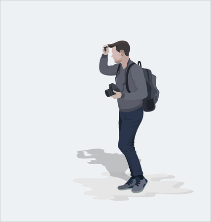 Photographer with a camera. Illustration of a character isolated on a light background. A young man travels. Vector illustration in flat style with space for text.