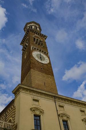 Lamberti Tower, Verona, Italy. Фото со стока