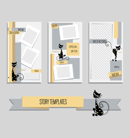 Trendy Editable Stories History with contrasting color combinations. Set. Иллюстрация