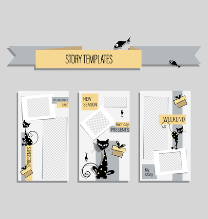 Funny black cats for funny stories. Stories with contrasting color combinations. Set.