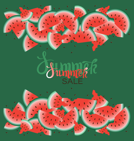Summer Sale. Background with ripe juicy watermelons. Advertising promotional summer design template with place for text. Fresh Juicy Fruit. Seasonal Vector Design.