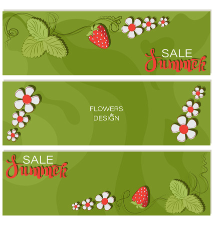 Summer Sale. Strawberry triptych. Flower design. Advertising summer advertising template. Fresh juicy berries. Seasonal vector design.