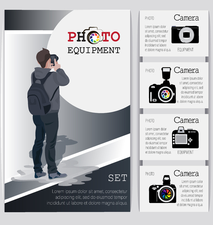 Young business man with a camera and an assortment of cameras. Install gear. Design for photo equipment stores, studio photos, ateliers.
