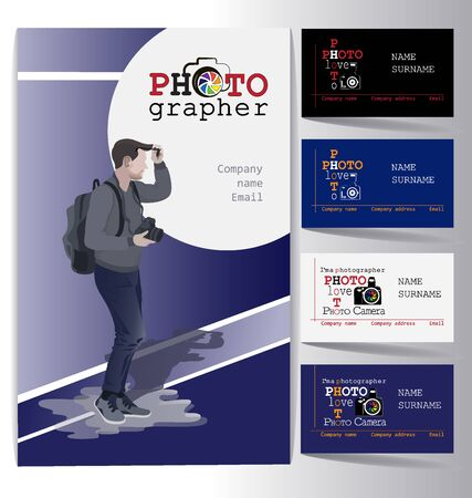 Young business man with a camera and an assortment of business cards. Set. Design of business cards for photo studio, atelier.