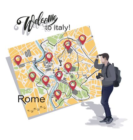 Tourist photographer and map of Rome. Welcome to Italy. Planning to move using location markers on the map. Tourist poster.