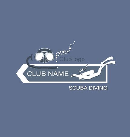 Skin-diver and mask breathing tube. Scuba diving. The logo on a gray background. Design for thematic sites, shops, service centers. The concept of sports diving.