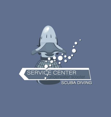 Underwater scooter with an arrow. Scuba diving. Service center. Emblem on a gray background. The concept of sports diving service.