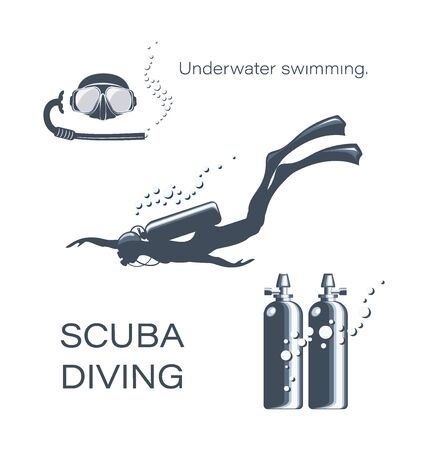 Set of elements for diving. Scuba diver woman in wetsuit scuba and accessories. Underwater activities and sporting goods are isolated. Collection of snorkeling equipment.