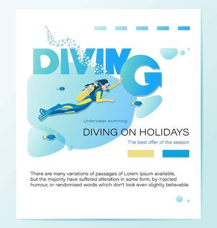 Mädchentaucher und tropische Fische. TAUCHEN IM URLAUB. Plakat mit der Aufschrift. Das beste Angebot der Saison. Unterwasser-Hintergrund. Vektorgrafik