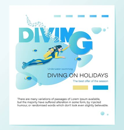 Girl scuba diver and tropical fish. DIVING ON HOLIDAYS. Poster with the inscription. The best offer of the season. Underwater background.