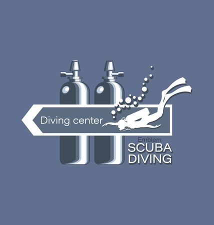 Arrow and an inscription. Diving center. Scuba diving. Emblem, logo on a gray background. Concept of sports diving, underwater fishing for websites, shops.