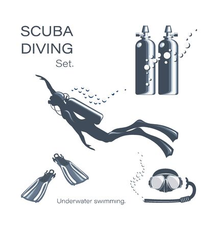 Scuba diver woman in wetsuit, scuba and accessories. Set of elements for diving. Underwater activities and sporting goods are isolated. Collection of equipment for scuba diving. Illustration