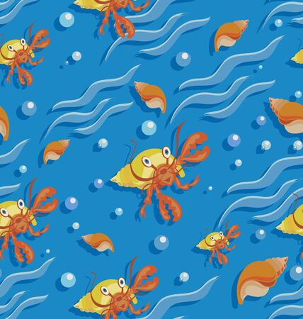 Orange hermit crab and seashells on the waves. Seamless patterns for baby textiles. Cartoon style