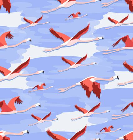Flying flamingos among the clouds. Seamless pattern. Can be used for textiles.