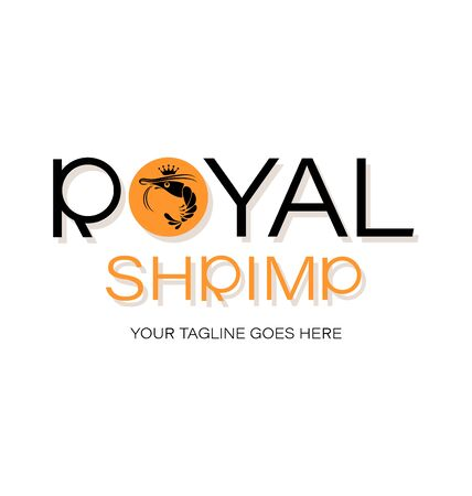 Royal shrimp. Emblem Logo design, shop, processing plant. The inscription with a shadow on a white background.